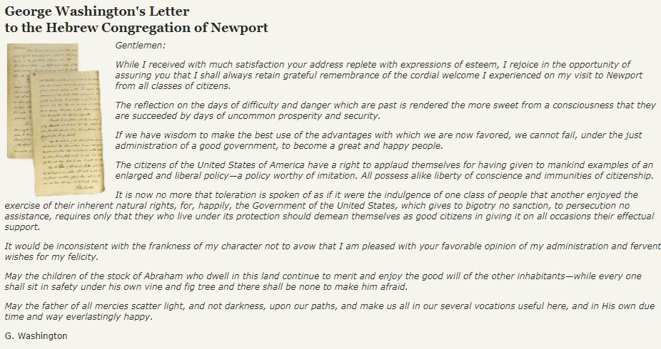 George Washington's Letter to the Hebrew Congregation of Newport